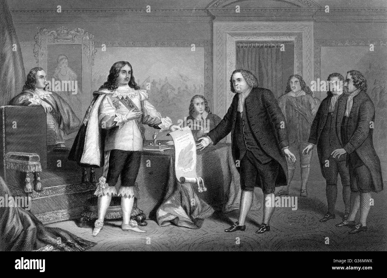 William Penn receives from Charles II the charter of  Pennsylvania        Date: 1681 Stock Photo