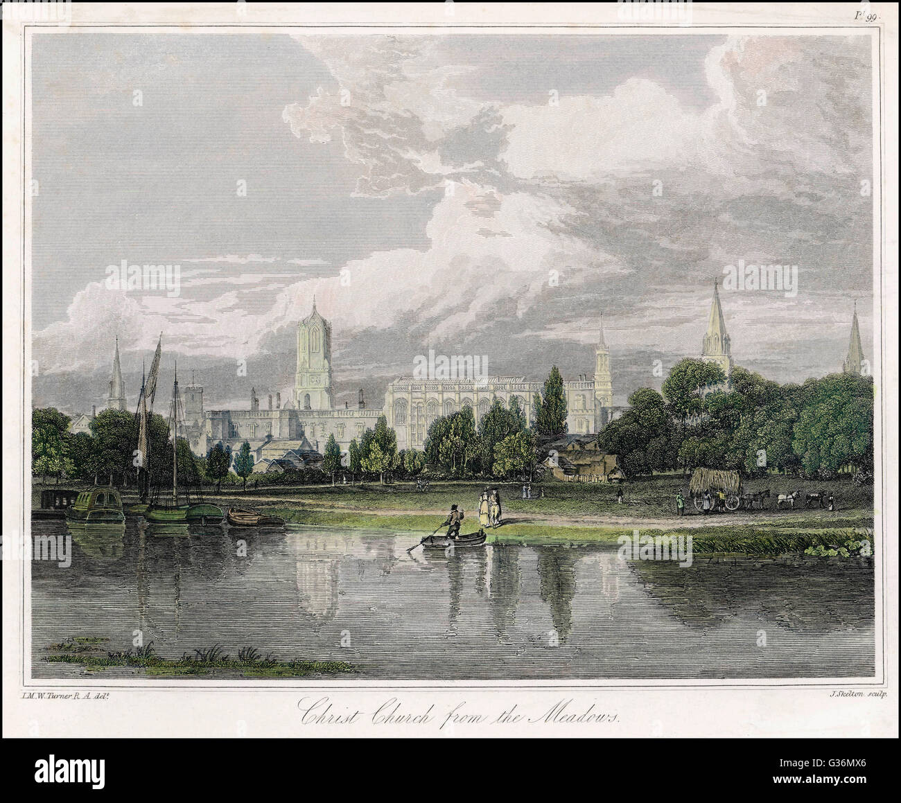 Oxford. Christ Church College seen across Christ Church Meadow, favoured site for a bypass, new science block, etc - Stock Image