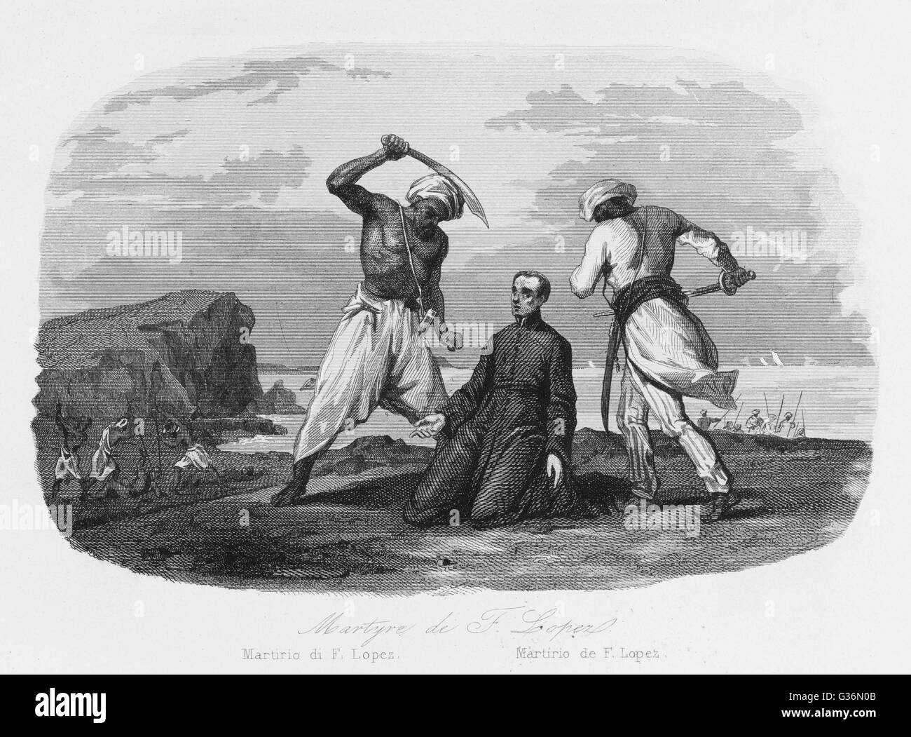 Francisco Lopez is murdered by Indian Moslems         Date: 1568 - Stock Image