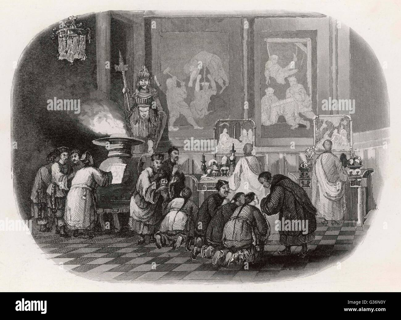 Cult of ancestors          Date: 1846 - Stock Image