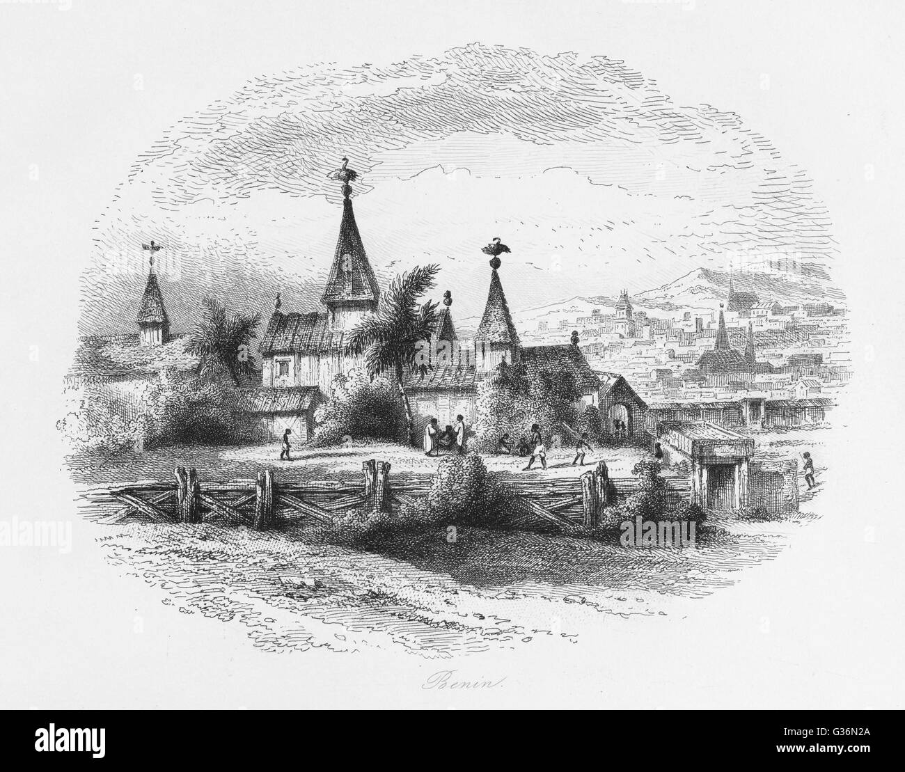 A view of the city of Benin, Nigeria, West Africa.      Date: 1846 - Stock Image