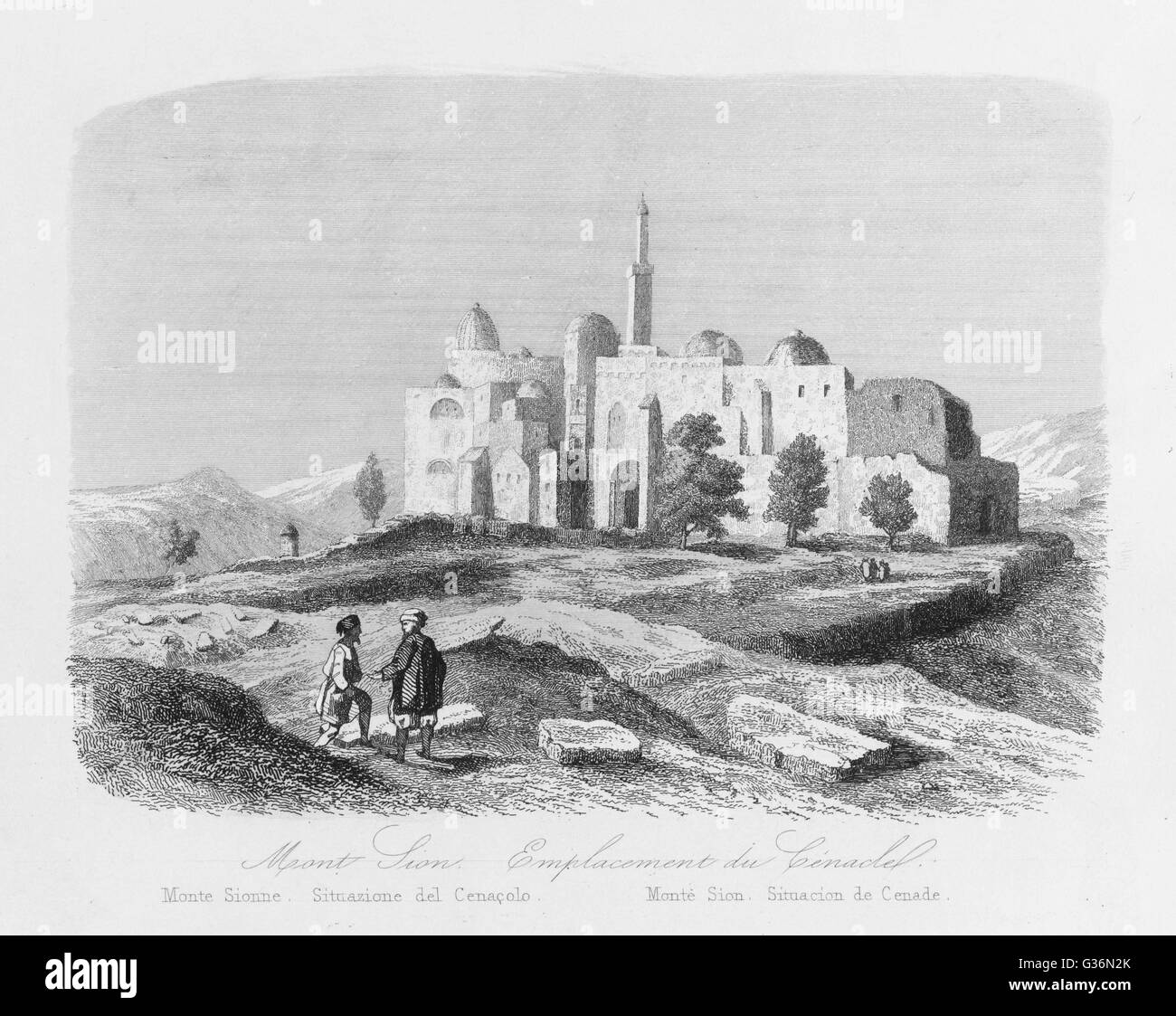 A view of Mount Zion, Jerusalem.           Date: 1846 - Stock Image