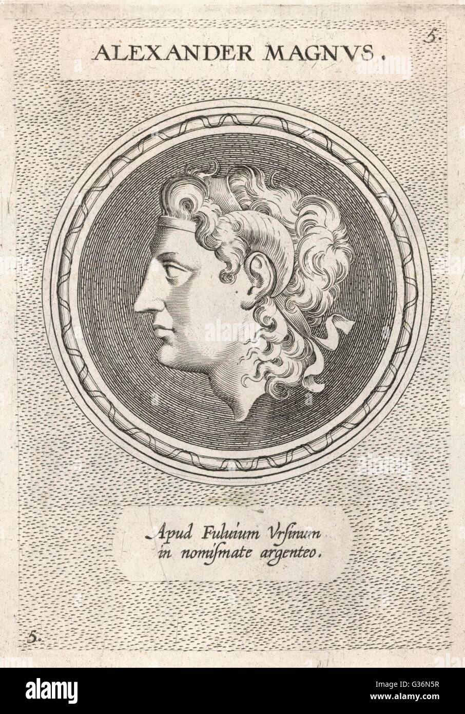 Alexander the Great (356 - 323 BC), King Alexander III of Macedon, wearing the horns signifying his descent from Stock Photo