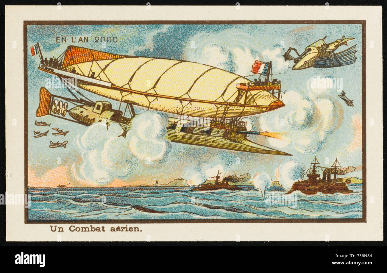 A futuristic aerial battle between aeroplanes and balloon-like flying objects.          Date: 1899 - Stock Image