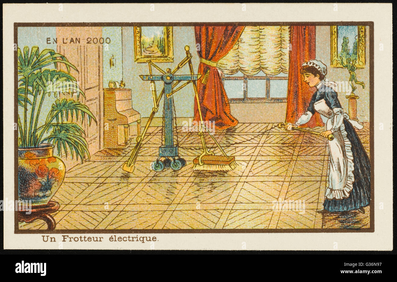 A maid operates a futuristic automated electric floor polishing machine -- housework made easy.       Date: 1899 - Stock Image