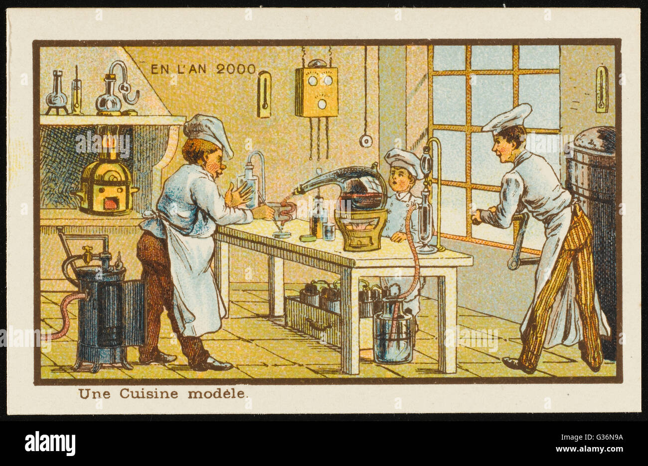 A futuristic automated kitchen, where machines do most of the work.          Date: 1899 - Stock Image