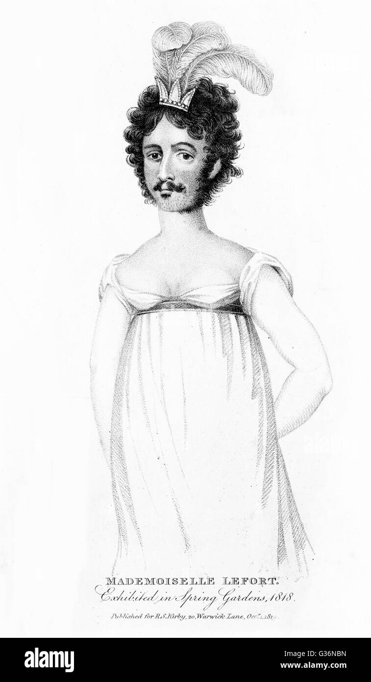 Mademoiselle Lefort, a bearded lady who visited London in 1818.         Date: 1818 - Stock Image