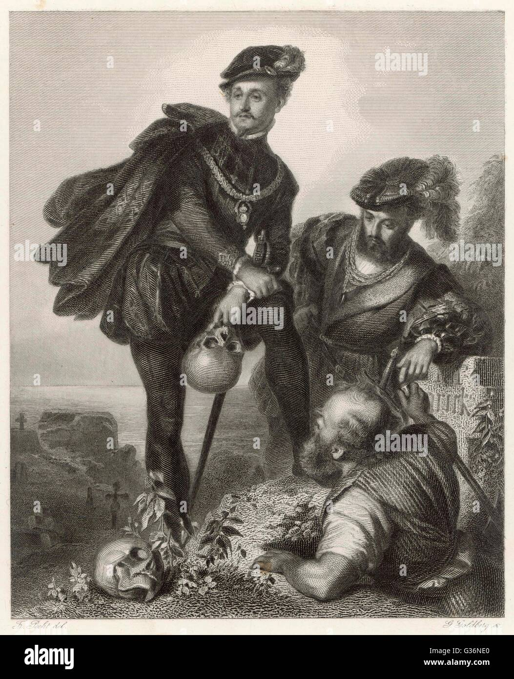 A scene from Shakespeare's tragedy, Hamlet, Prince of Denmark, depicting Hamlet and his friend Horatio with - Stock Image