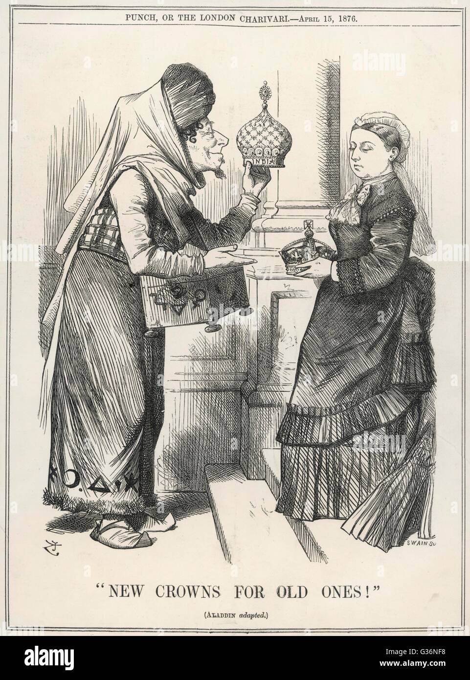 New crowns for old ones!  Prime Minister Benjamin Disraeli offers Queen Victoria the imperial crown of India, in - Stock Image