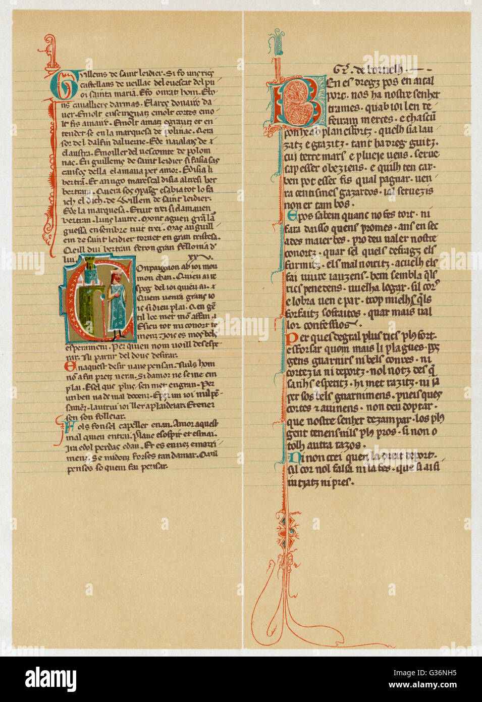 A page from a Troubadour poem, written in Italian and Provencal, with decorated initial letters and decorated margins. Stock Photo