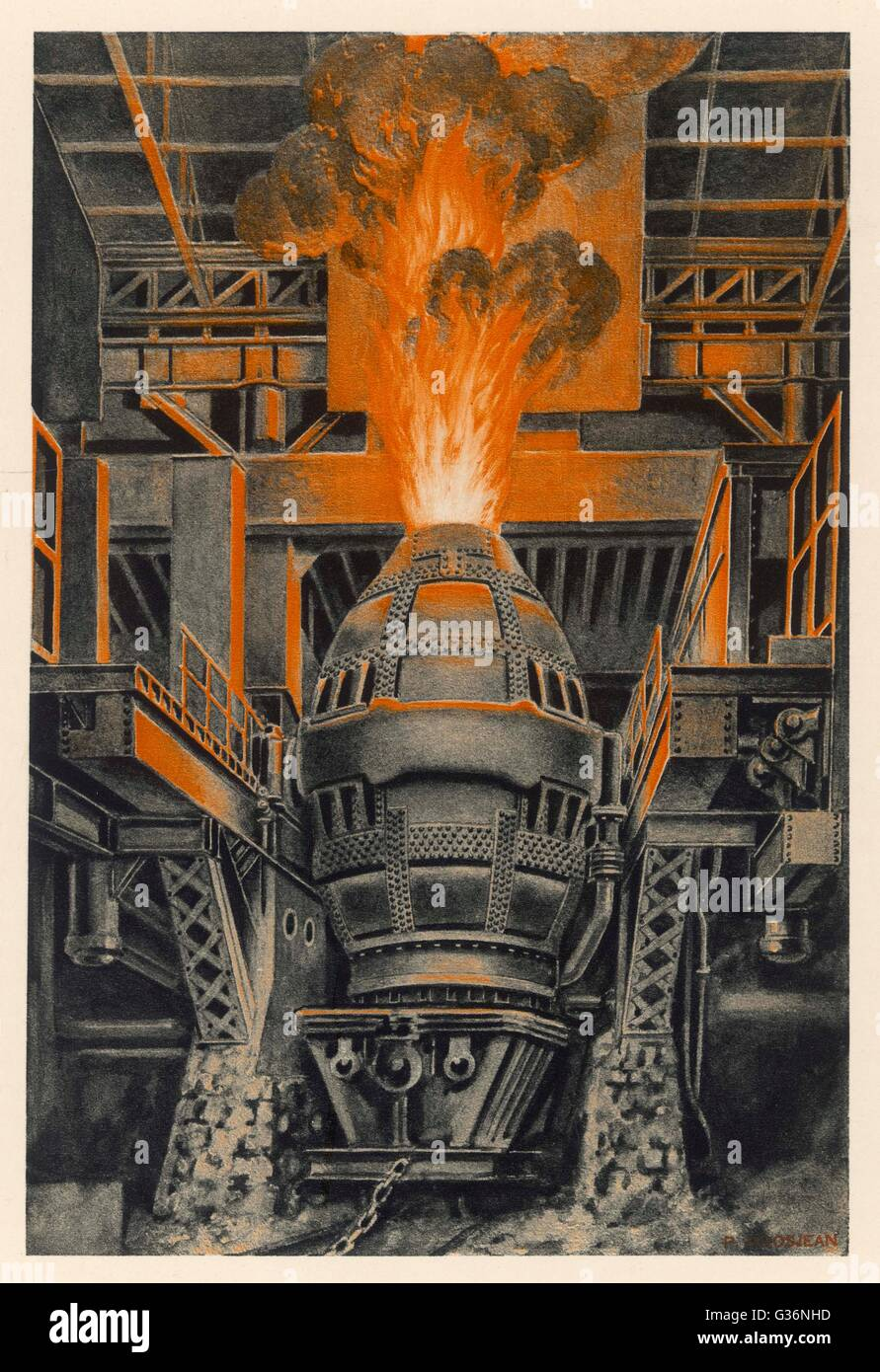 A Bessemer converter in the Longwy steelworks, France  -- a process designed for the mass production of steel from - Stock Image