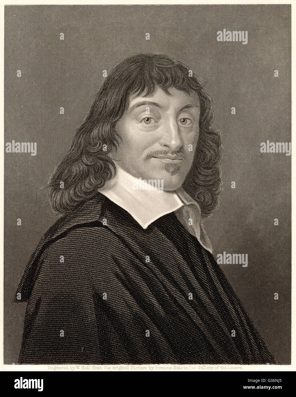 Rene Descartes (1596-1650), French mathematician and philosopher. His most famous philosophical statement was: I Stock Photo