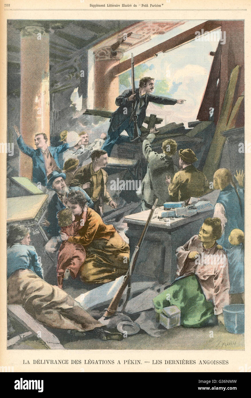 At Peking during the Boxer Rebellion, the European legations hold out against the rebels until they are at last - Stock Image