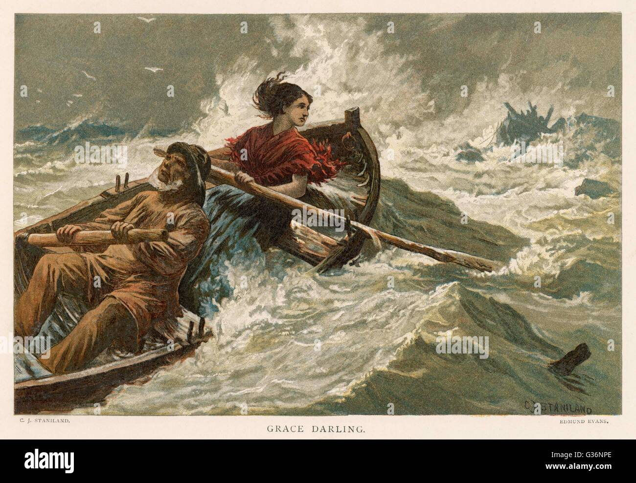 Grace Horsley Darling (1815-1842), daughter of the lighthouse keeper, William Darling, on the Farne Islands, seen here rowing with her father to the sinking steamboat the SS Forfarshire in 1838 -- together with her father she saved 13 people from the wrec Stock Photo