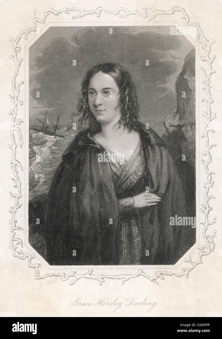 Grace Horsley Darling (1815-1842), daughter of the lighthouse keeper, William Darling, on the Farne Islands, who rowed with her father to the sinking steamboat the SS Forfarshire in 1838 -- together they saved 13 people from the wreck.      Date: circa 18 Stock Photo