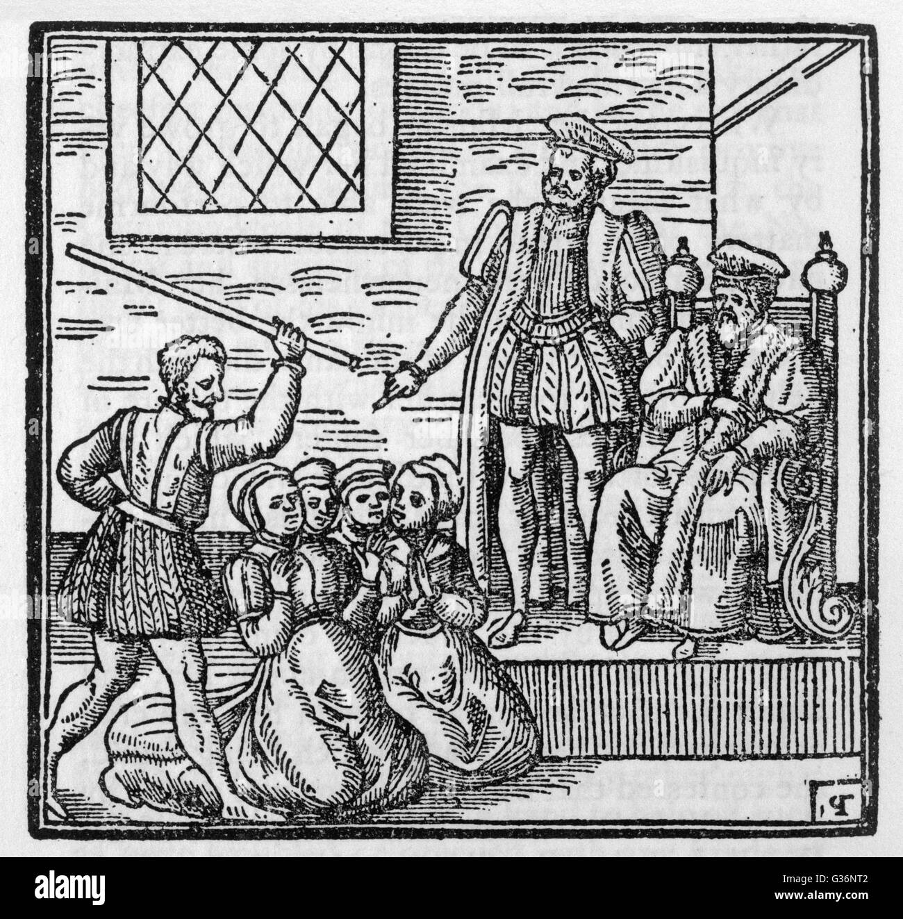 The North Berwick Witches, Agnes Sampson, Agnes Tompson, Dr Fian and others, are tried before King James.  Most - Stock Image