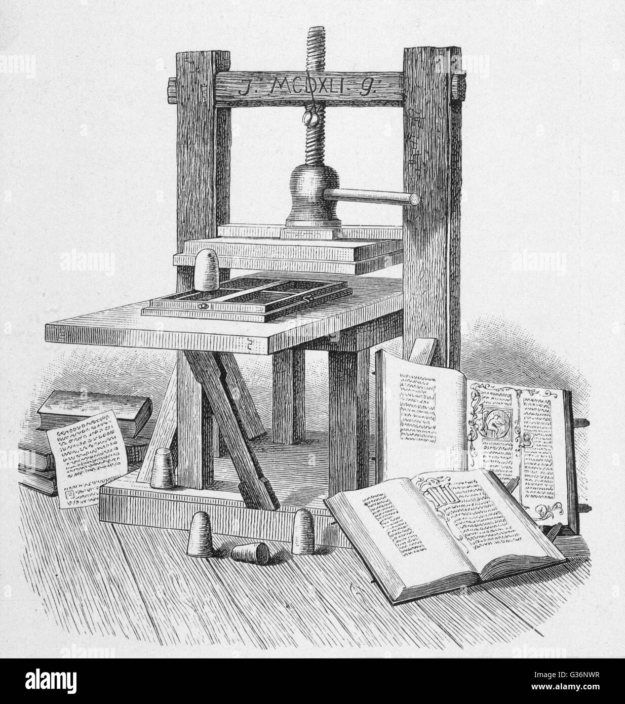Gutenberg's press, reconstructed from what was left of it, and  housed in the Deutsche Buchgewerbehaus at Leipzig, - Stock Image