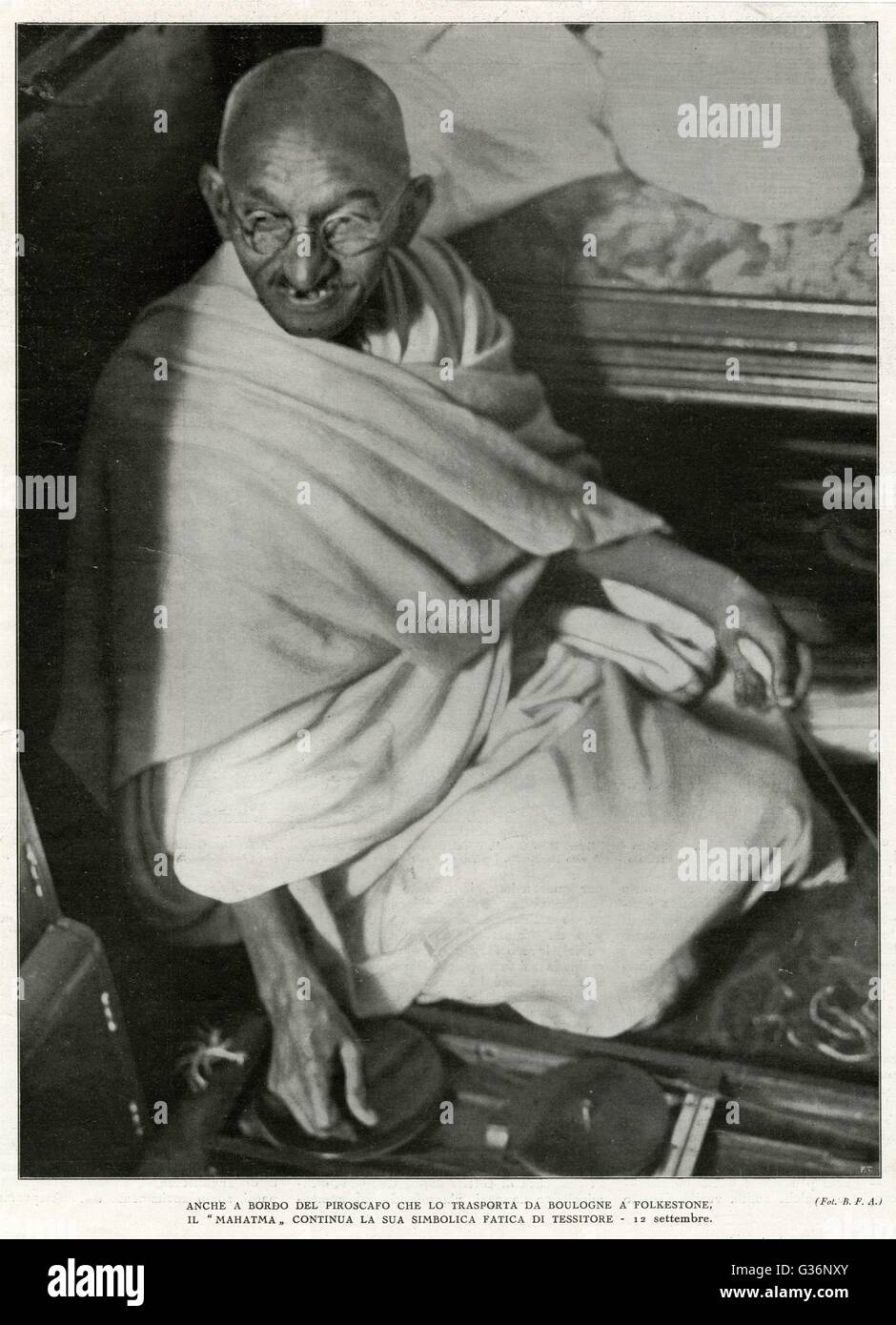 Mahatma Gandhi, Indian nationalist and spiritual leader, sailing from Boulogne to Folkestone on 12 September 1931. - Stock Image