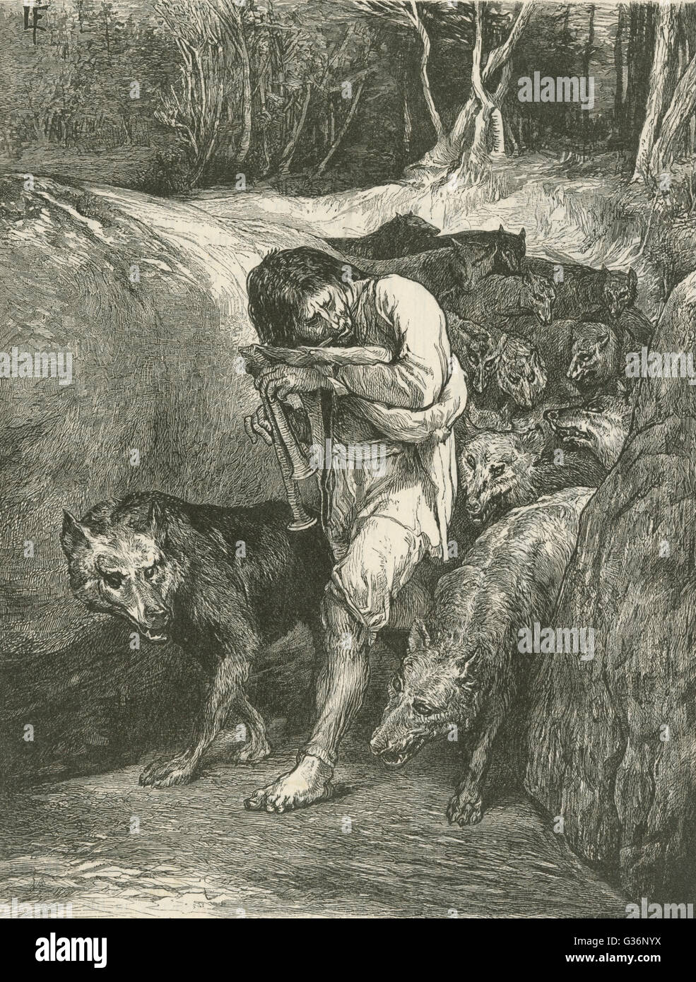 The Wolf-Charmer  -- le meneur de loups -- a folklore figure of rural France who is able to tame and control a pack - Stock Image
