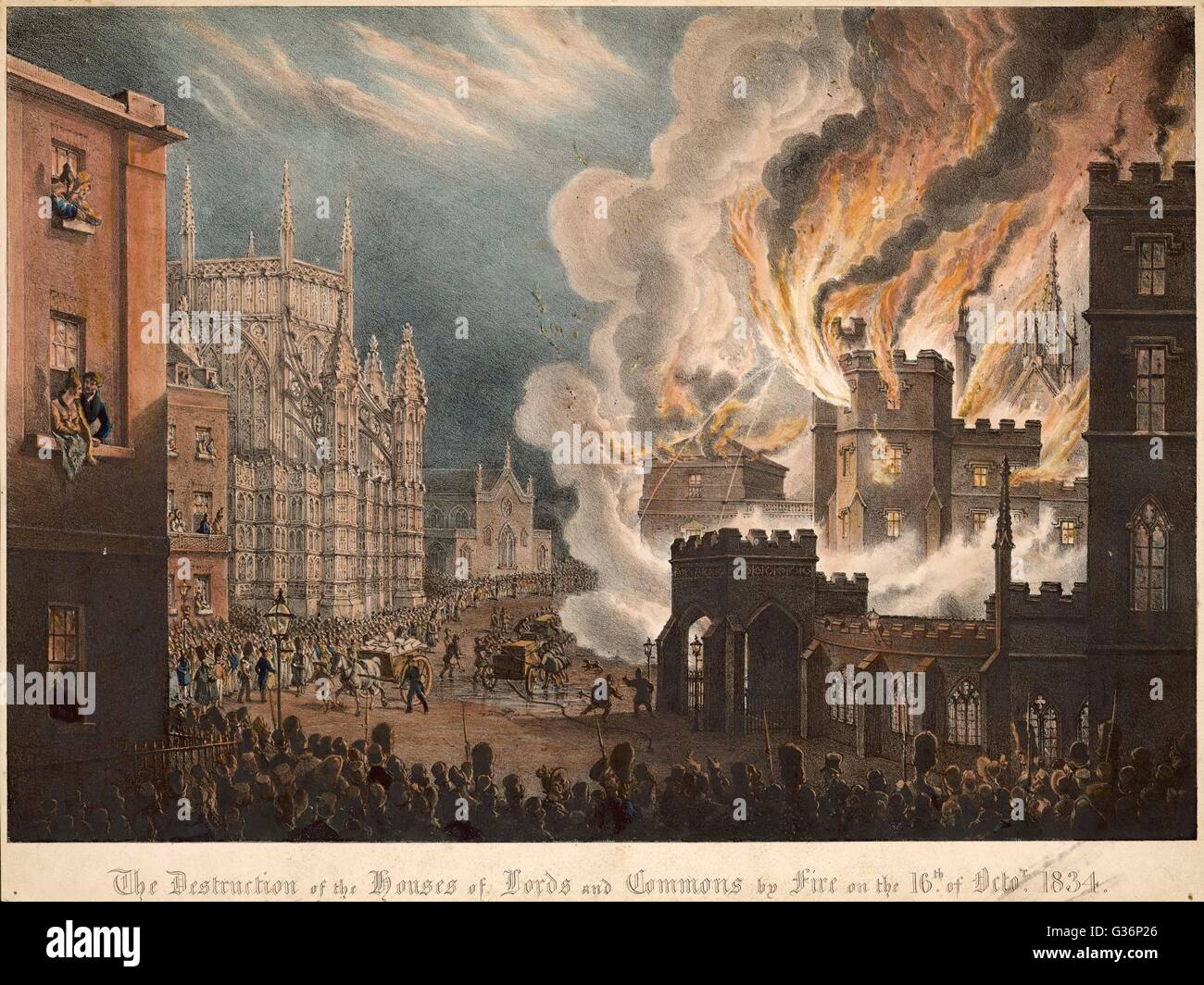The Houses of Parliament destroyed by fire.           Date: 16 October 1834 - Stock Image