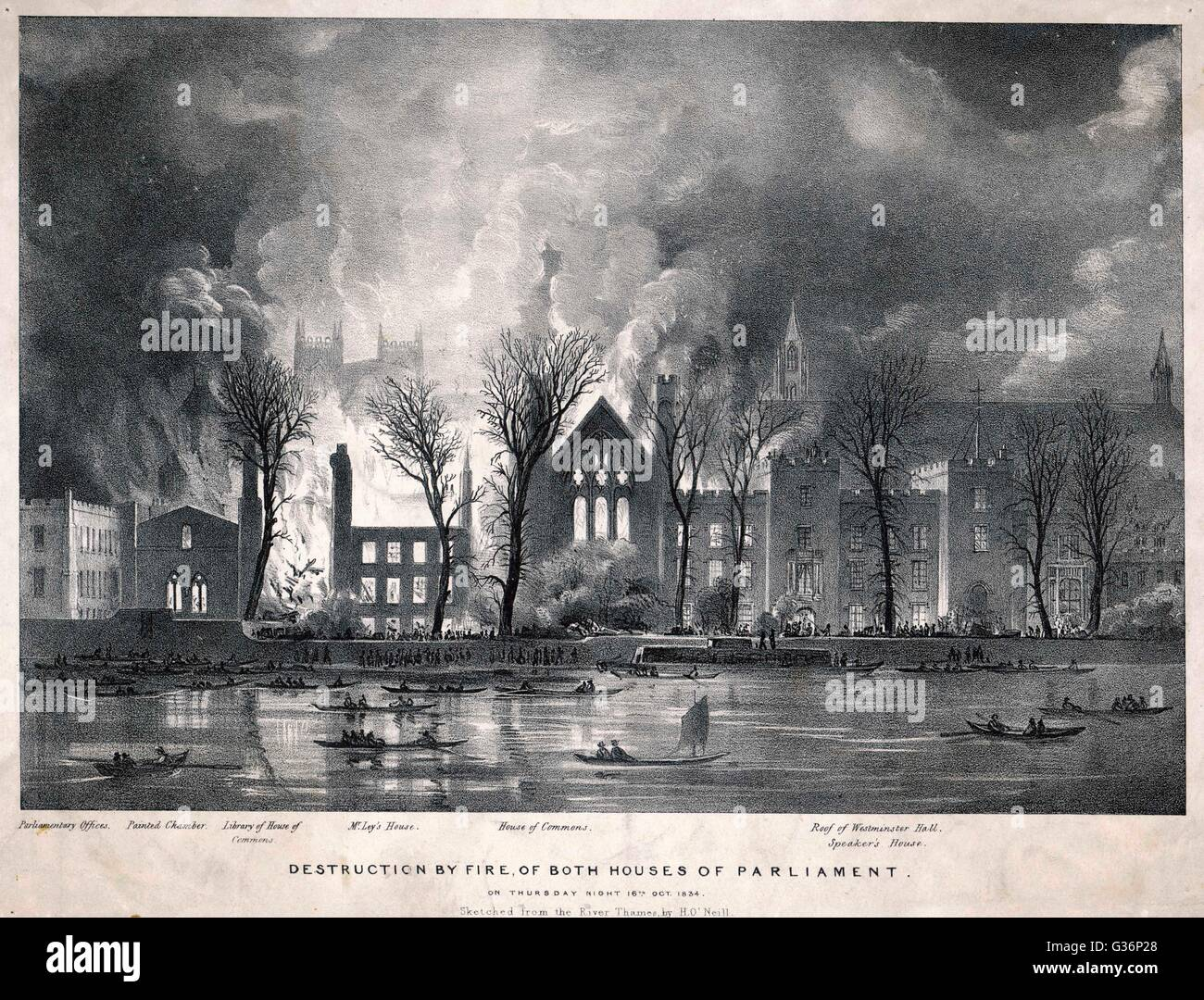 The Houses of Parliament destroyed by fire, as seen from across the River Thames.         Date: 16 October 1834 - Stock Image