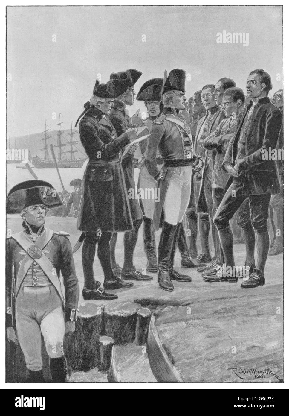 Captain Arthur Phillip, first Governor of New South Wales, inspecting convict settlers at Sydney, Australia, where - Stock Image