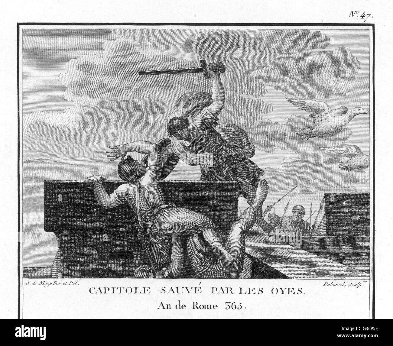 Rome is saved from the Gauls when the alarm is given by the  Geese of the Capitol (the Sacred Geese of Juno).   - Stock Image