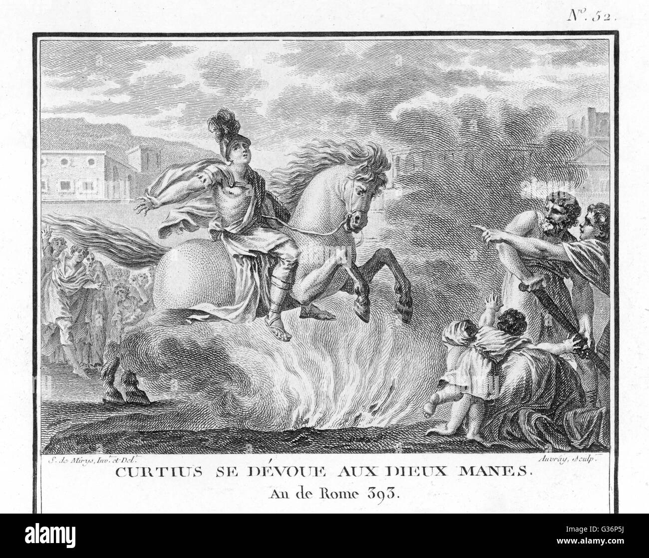 When a fissure appears in the Forum in Rome, the oracle demands a sacrifice.  A young horseman, Marcus Curtius, - Stock Image