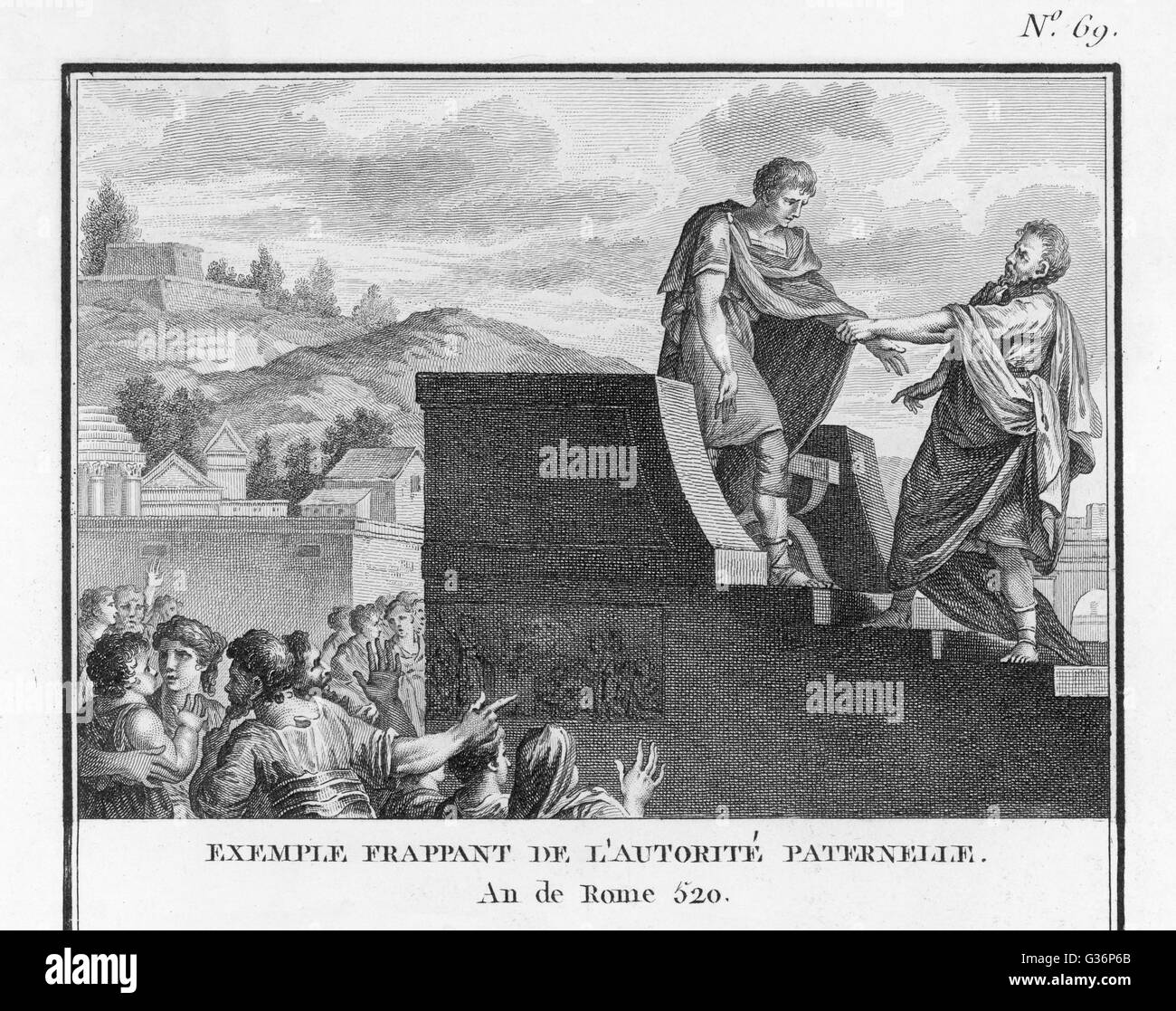 The Roman political leader, Gaius Flaminius Nepos, in the face of  opposition from the senate and his own father, - Stock Image