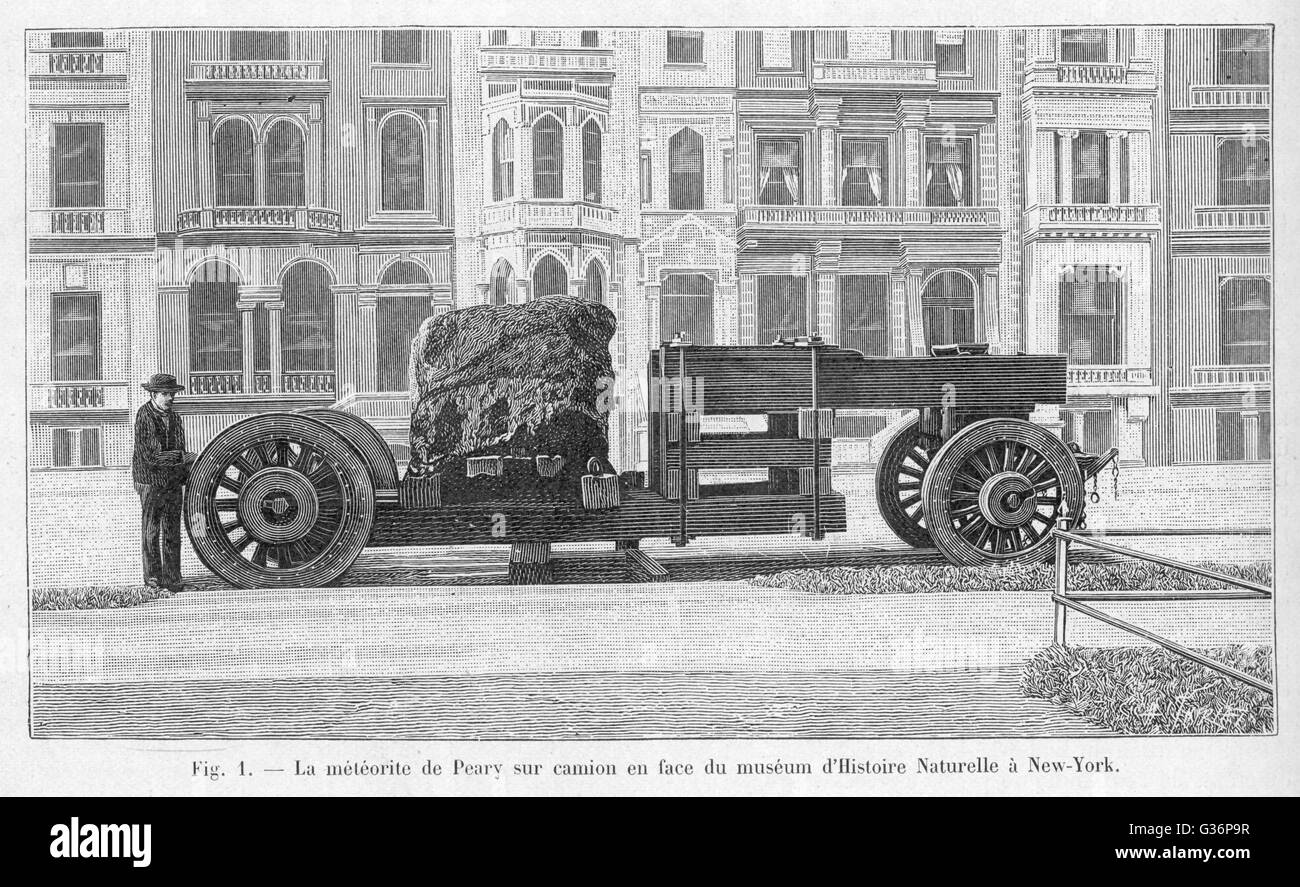 Transportation of a large iron meteorite found at Cape York, Greenland, by the American explorer Robert Edwin Peary, - Stock Image