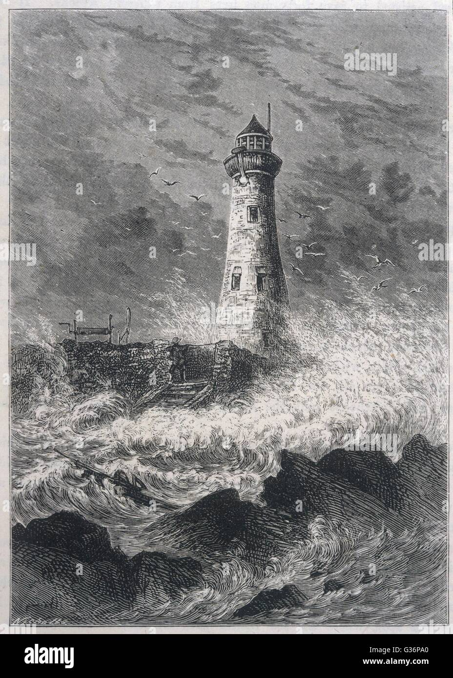 Longstone Lighthouse, on Longstone Rock, Farne Islands, Northumberland.  It was originally called the Outer Farne Lighthouse, and was designed and built in 1826.  It is famous for the wreck of the SS Forfarshire in 1838, and the rescue of 13 people by Gra Stock Photo