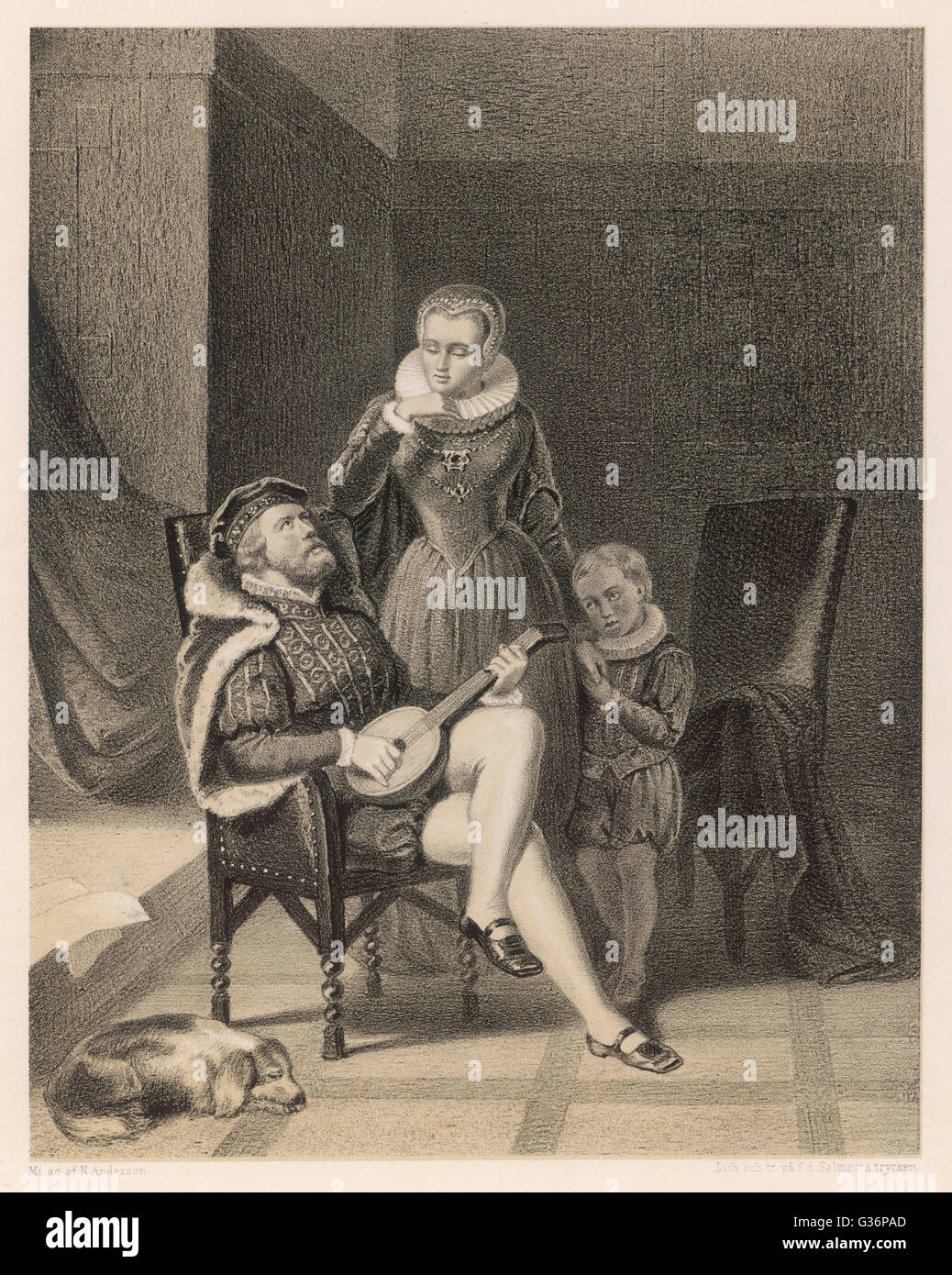 Erik XIV, King of Sweden (reigned 1560-1568), with his mistress (later his wife) Karin (or Catharina) Mansdotter. - Stock Image