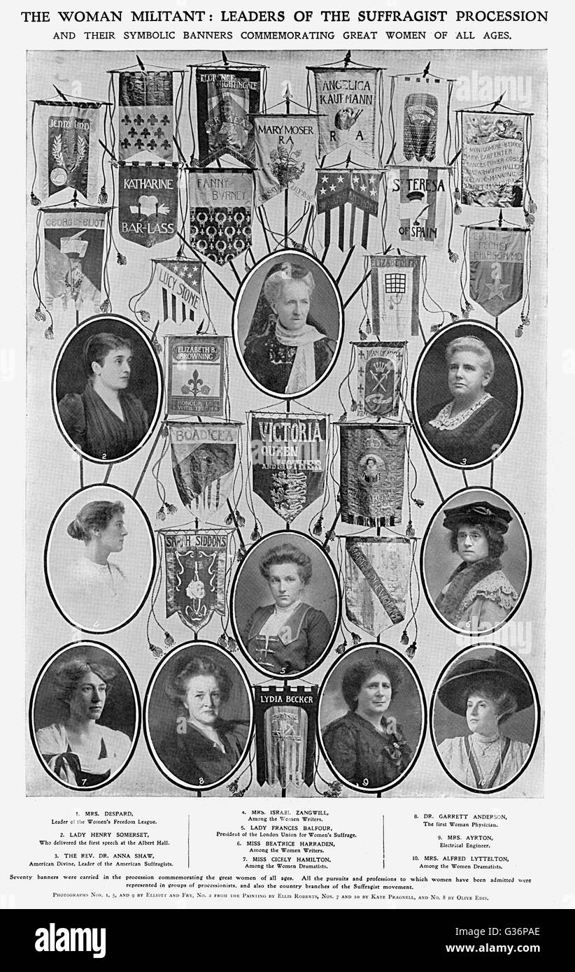 Portraits of various campaigners for women's rights, who led a Suffragist Procession on 13 June 1908 from the - Stock Image