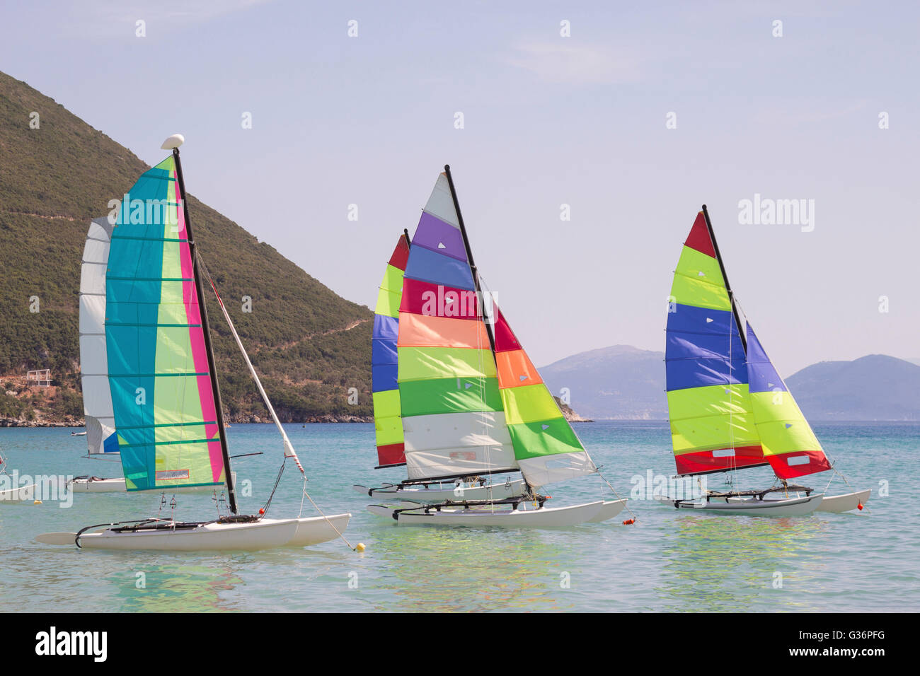 Sailboats with colorful sails - Stock Image