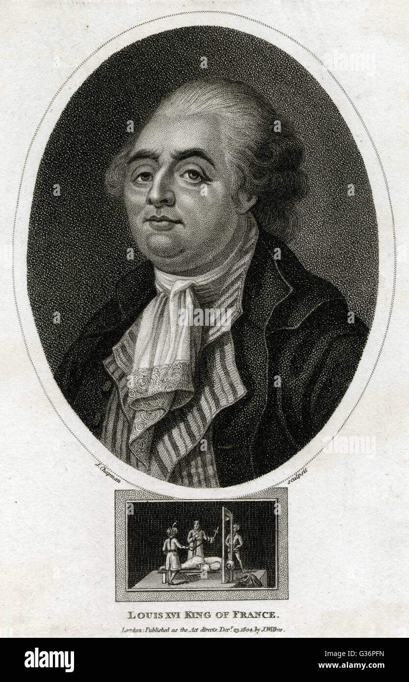 Louis XVI, King of France (1754-1793, reigned 1774-1792).  An oval head and shoulders portrait, with a scene of Stock Photo