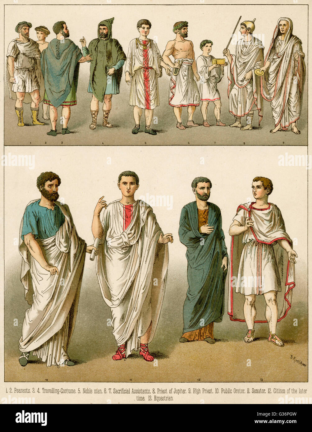 539d89b1b07 Ancient Roman costume for men -- peasants, travellers, nobles, a priest and