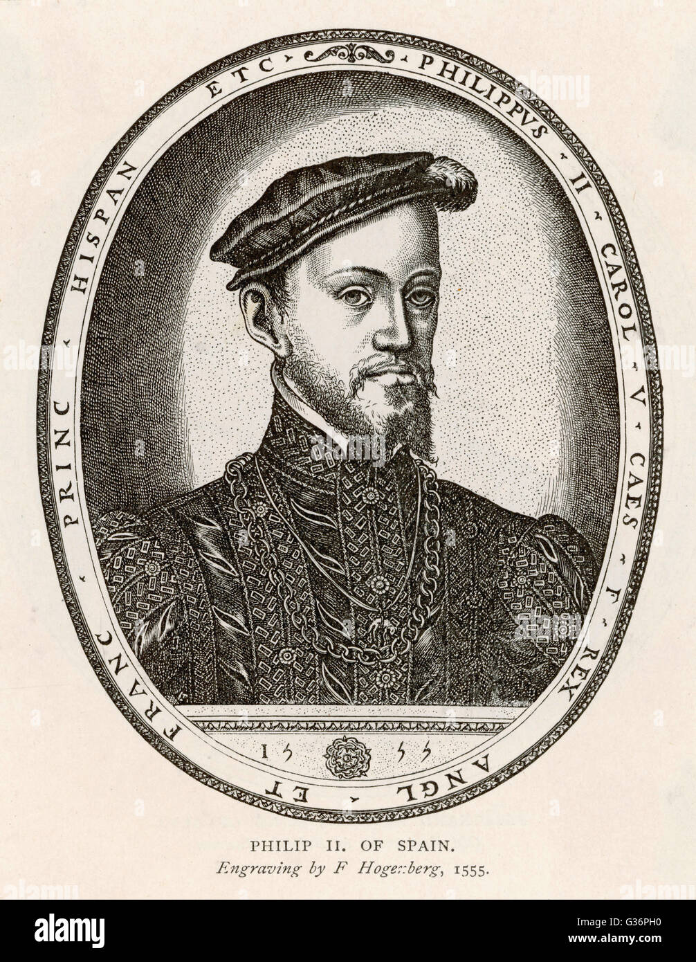 Philip (Felipe) II, King of Spain (reigned 1556-1598). He was also King of Portugal, Naples and Sicily, and, while Stock Photo