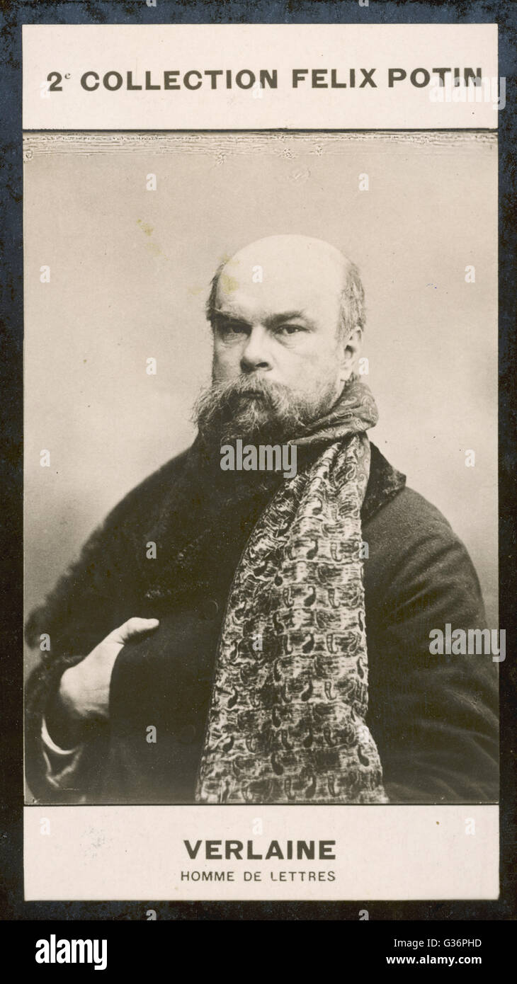 Paul Verlaine, French poet associated with the Symbolist movement. Seen here in a head and shoulders photograph, - Stock Image