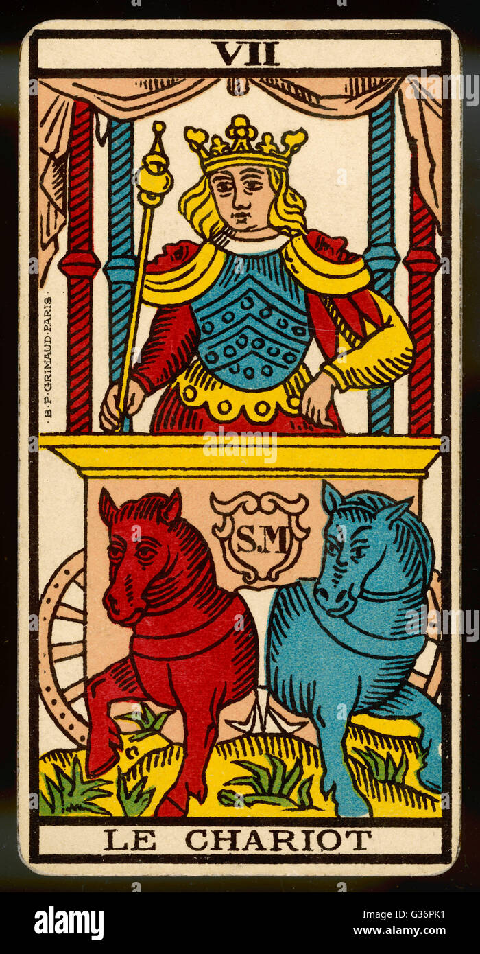 Tarot Card 7 - Le Chariot (The Chariot Stock Photo