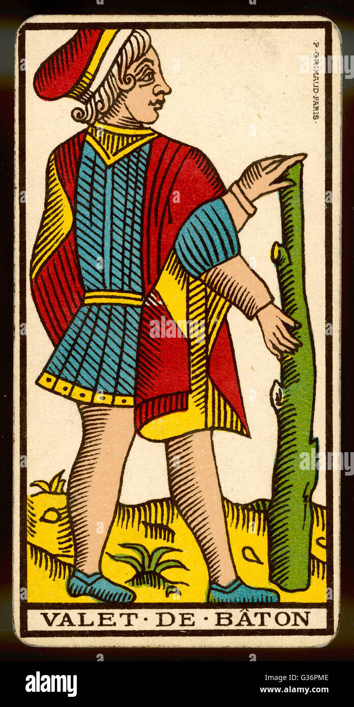 Tarot Card - Valet de Baton (Page of Clubs). - Stock Image