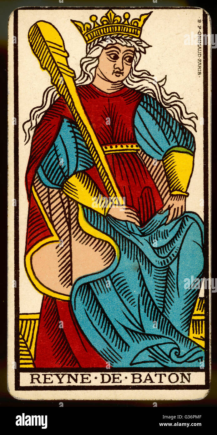 Tarot Card - Reyne de Baton (Queen of Clubs). - Stock Image