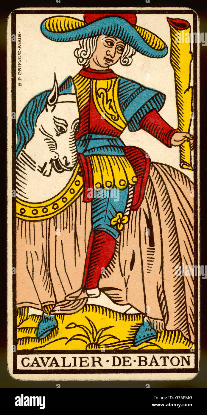 Tarot Card - Cavalier de Baton (Knight of Clubs). - Stock Image