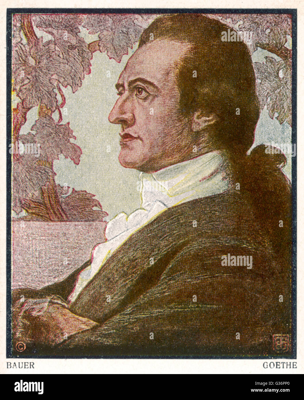 Johann Wolfgang von Goethe, German writer and polymath.  His writings include poetry, drama, literature, theology, Stock Photo