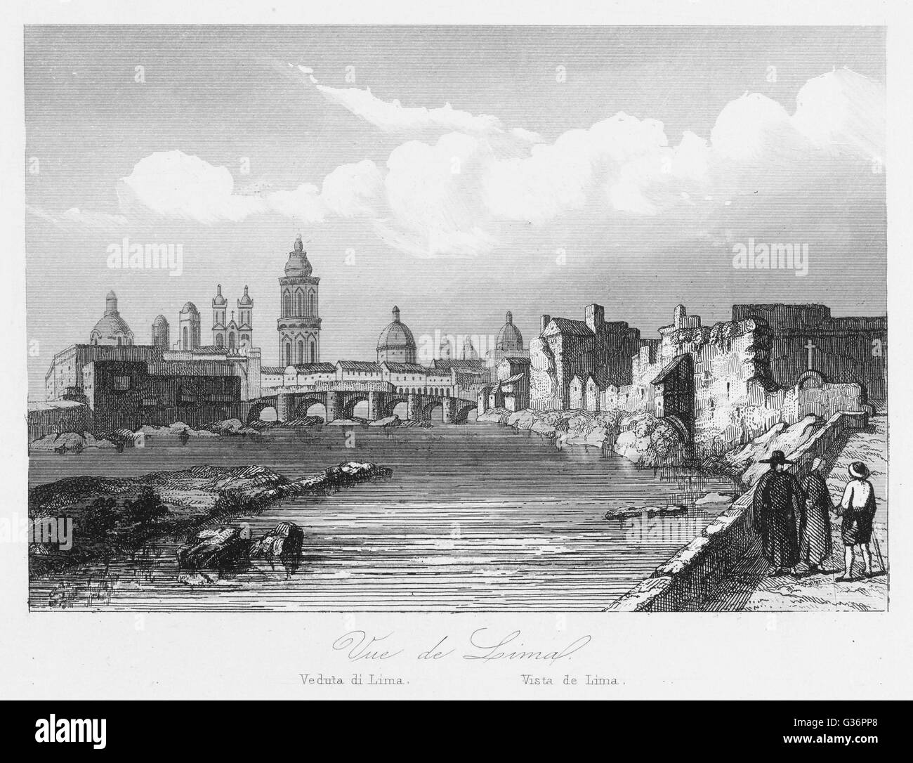 A general view of Lima, capital city of Peru, South America.      Date: 1846 - Stock Image