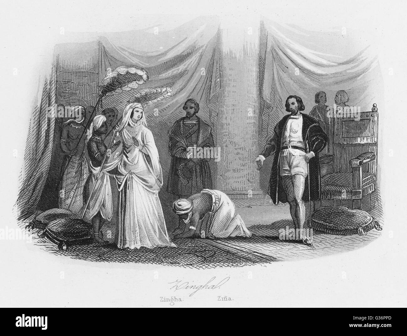 Anna Nzinga, Princess of Angola, West Africa, makes peace with Portugal and converts to Christianity, renaming herself Stock Photo