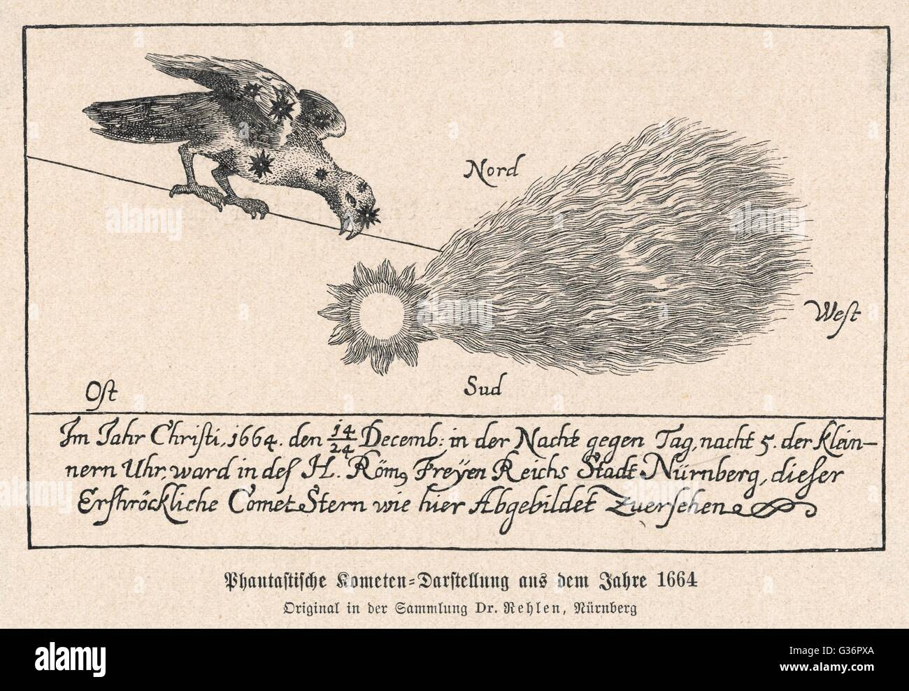Depiction of a comet seen from Nuremberg, Germany, every night  from 14 to 24 December 1664.        Date: December - Stock Image