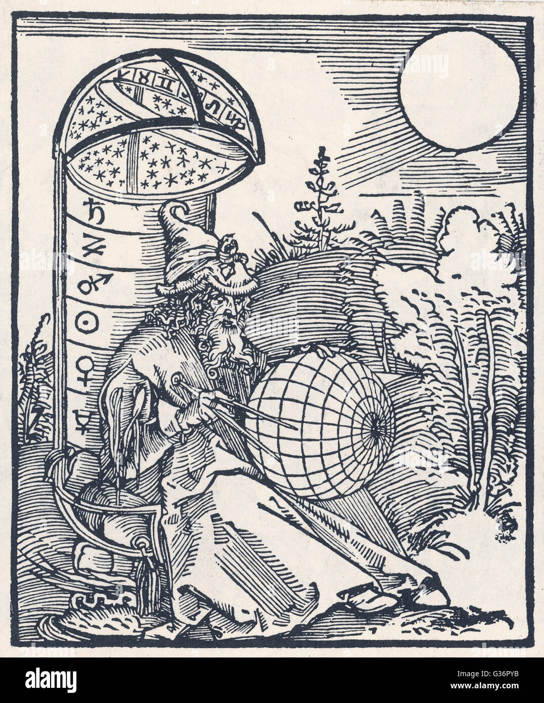 A medieval astronomer with globe and compasses.      Date: 15th Century - Stock Image