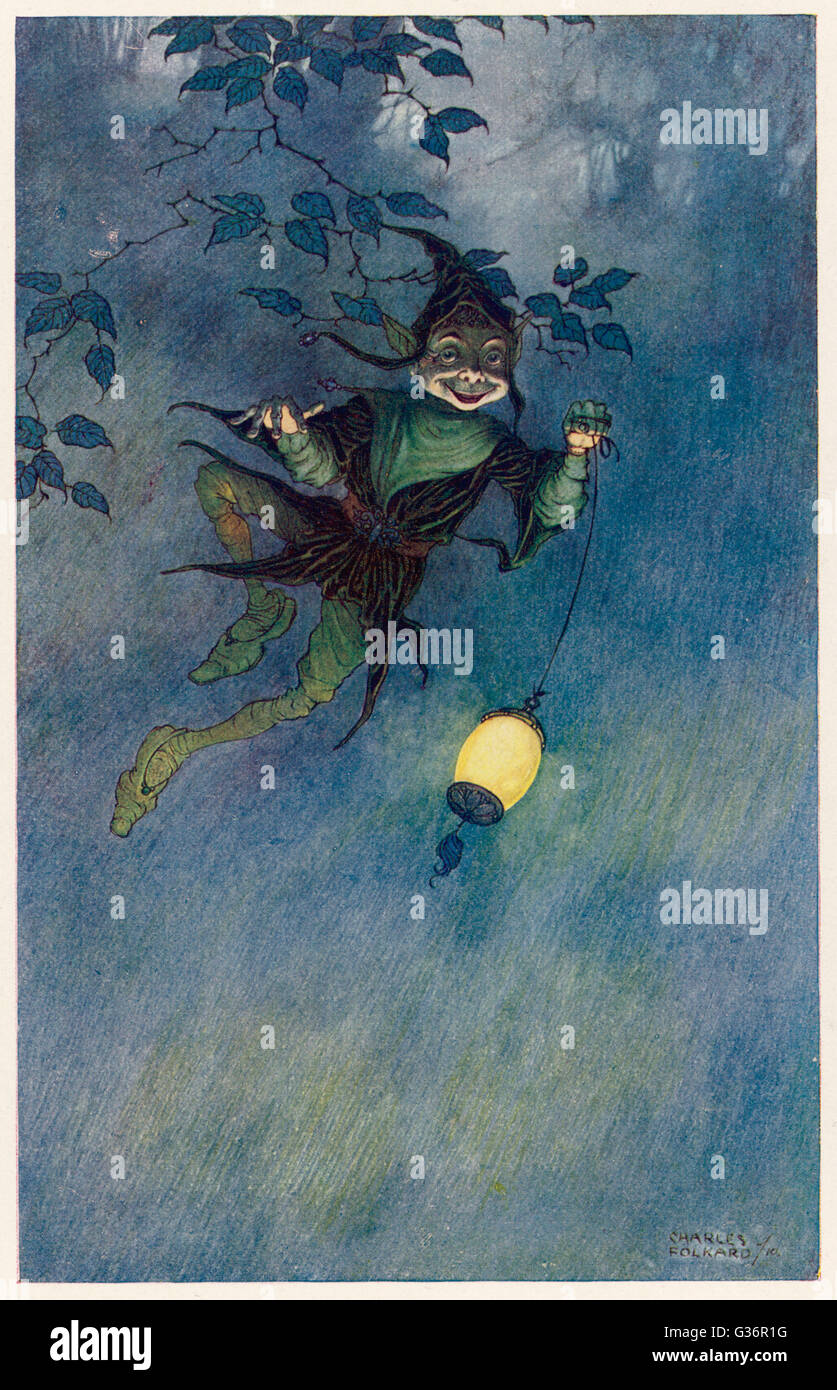Robin Goodfellow, a sprite (also known as Puck).      Date: 1911 - Stock Image