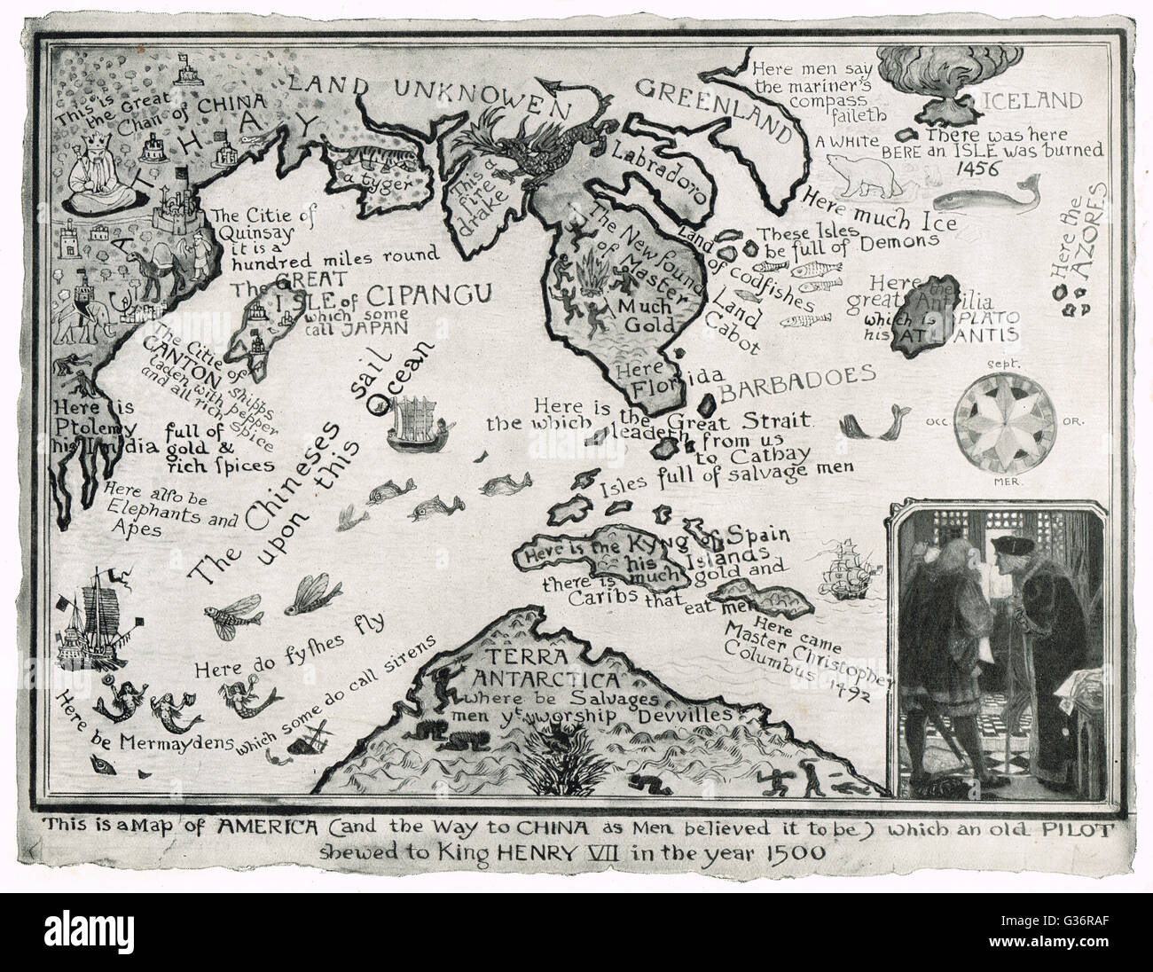 Erroneous Map of America & the way to China (as men believed it to be) shown to Henry VII in 1500 - Stock Image
