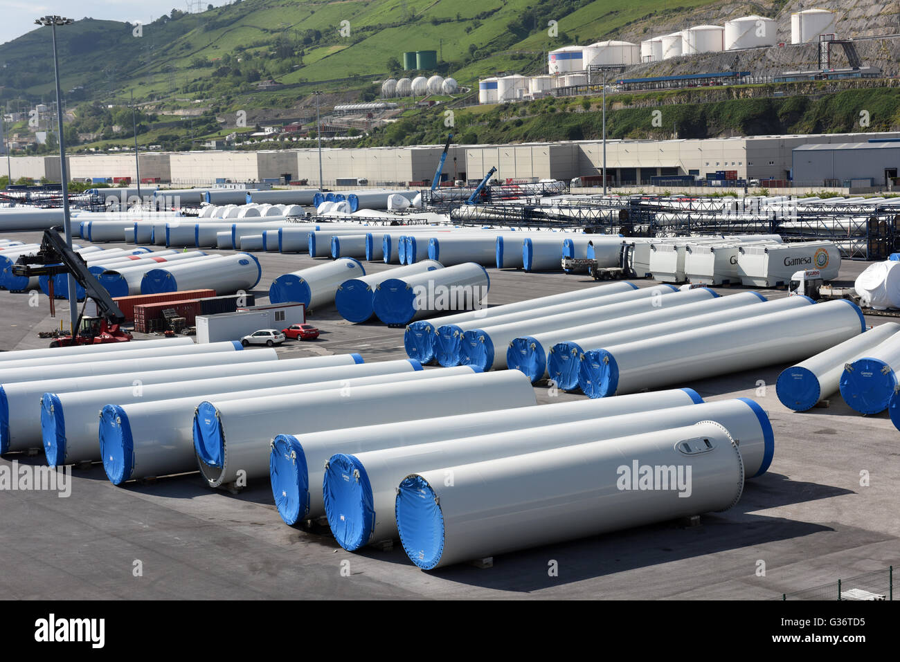 Wind turbines at Bilbao port in Spain - Stock Image